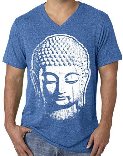 Mens Big Buddha Head V-Neck Tee, Large True Royal