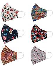 STAR WORK - 6 Pcs Fashion Flowers Cloth Face Mask - Adjustable Washable Cotton Masks for Adult