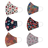 STAR WORK - 6 Pcs Fashion Flowers Cloth Face Mask - Adjustable Washable Cotton Masks for Adult