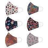 STAR WORK Face Mask Reusable Adjustable Washable Cotton Masks for Adult (6 Pcs, Fashion Flowers)