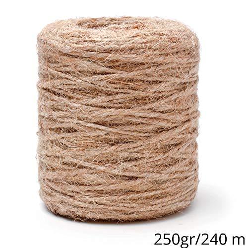 Amazinggirl Cuerda de Yute Cordel - Yute Cuerdas de Esparto Rollo de Cuerda para Manualidades Cuerda Yute Gruesa Hilo Marron Decorar 240 m; ø 1-1,5 mm