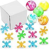 4 Sets de Juegos de Jacks con Bola de Mármol Cada Set con 12 Gatos de Plástico y 1 Bola de Goma Mármol Juego Jacks Clásico Retro para Juguete Recuerdo Fiesta Premio Juego Pascua, Colorido