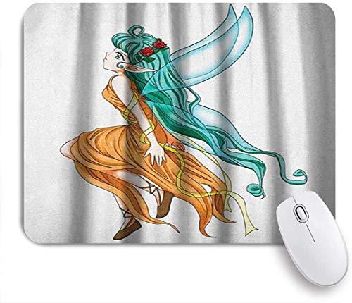 MATEKULI Gaming-Mauspad,Anime Tropical Pixie Girl Karikatur mit einem langen grünen Haar und Flügeln Fantasy Elf,Rutschfest Verschleißfestes Und Haltbares Gummi,Mousepad Für Bürocomputer,9.5