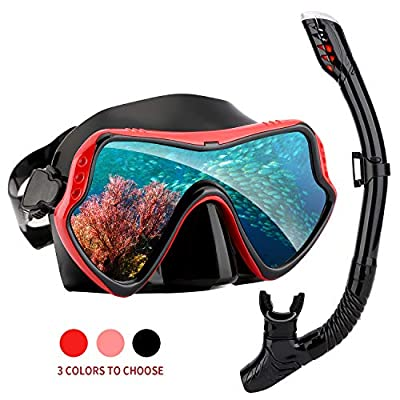 Snorkel Set for Women and Men, Anti-Fog Tempered Glass Diving Mask for Swimming and Scuba Diving, Anti Leak Dry Top Snorkel Gear with Silicon Mouth Piece ?Soft Silicone Rubber No Leaks? (Red)