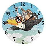 landianguangga Cool Terrier Dog with USA Flag Round Acrylic Wall Clock, Silent Non