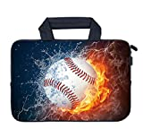 AMARY 14 15 15.4 15.6 inch Laptop Handle Bag Computer Protect Case Pouch Holder Notebook Sleeve Neoprene Cover Soft Carrying Travel Case for Dell Lenovo Toshiba HP Chromebook ASUS Acer (Baseball)