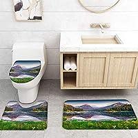 ZGDPBYF 浴室の風景のためのアップホームバスマット植物の森レイクマウンテンメドウグラスプリントバスマットシャワーフロア用カーペットバスタブマット
