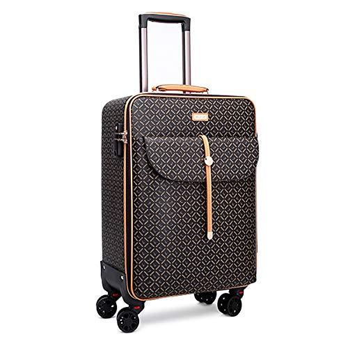 KQATCJ Ligero Moda 16/20/24 Pulgada PU Rolling Spinner Spinner Maleta de Viaje con Bolso Hombres Mujeres Carry On Set Trolley Equipaje para Salir por Negocios (Color : Brown, Luggage Size : 16')
