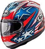 Casco integral de moto Arai RX-7V Hayden para adultos con cara completa, casco deportivo Crash, color azul y rojo (Replica - S)