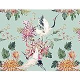 Papier peint intissé Cigogne fleurs 352 x 250 cm - Tapisserie Decoration Murale XXL Poster - Salon Appartement Photo d'art - 9362011a