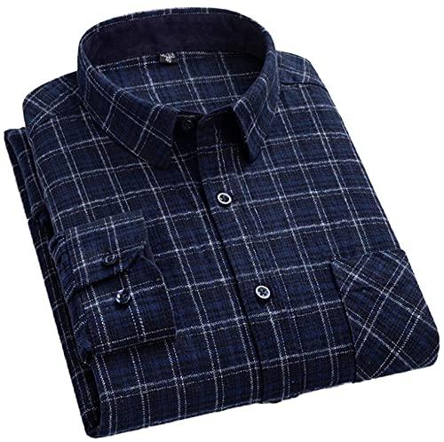FGSJEJ Hombres Manga Larga Camisas Camisas Casual para Franela Algodón Ajuste Regular a Cuadros con Pantalones Vaqueros o Pantalones Chinos Caqui para el Trabajo el Juego o una Cita etc S-XXL