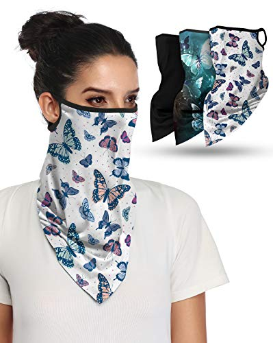 3PCS Face Bandana with Ear LoopsNeck Gaiter Face Scarf/Neck Cover/Face Cover for Men Women and Teens, Butterfly Series
