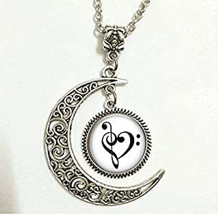 Charm Crescent Moon Treble and Bass Clef Heart