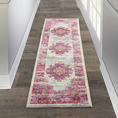 "Nourison Passion Distressed Vintage Ivory/Fuchsia Area Rug Runner 1'10"" x 6'"