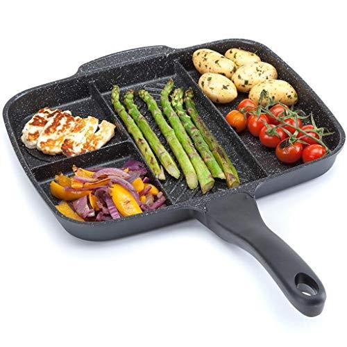 XZJJZ Pan for fritura sin Palo de freír 5 en 1 Pan Dividido a la Parrilla for el Desayuno con múltiples propósitos de la Olla de la Comida del Horno Fry Fry