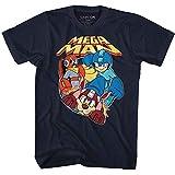 Mega Man Capcom Video Game Flat Colors Adult T-Shirt Tee Navy
