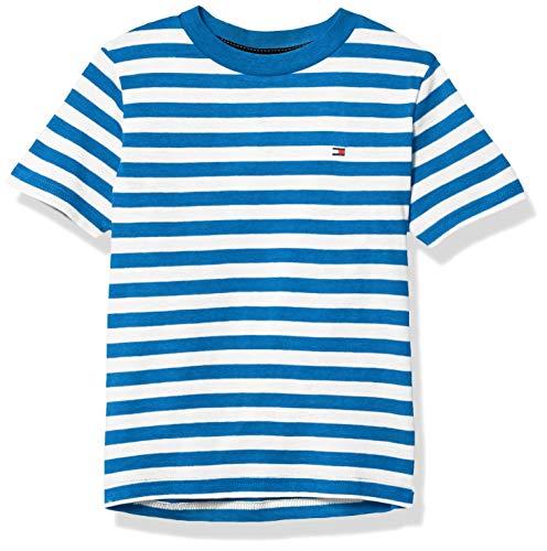Tommy Hilfiger Boys' Short Sleeve Crew Neck Striped T-Shirt, Directoire Blue, Medium (12/14)
