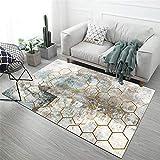 La alfombras Decoracion para habitacion Fácil Limpiar Azul marrón marrón diseño geométrico Alfombra Duradera Alfombra de Pelo alfombras para Habitaciones Juveniles 200X300CM