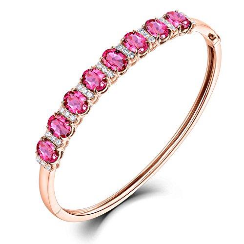 Pulsera de oro rosa sólido de 14 quilates con diamante natural turmalina para mujer regalo de cumpleaños