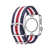 bandmax Armband fr Apple Watch, Nylon Gewebe Denimstoff Ersatzarmband Fashion Navy Streifen Design...