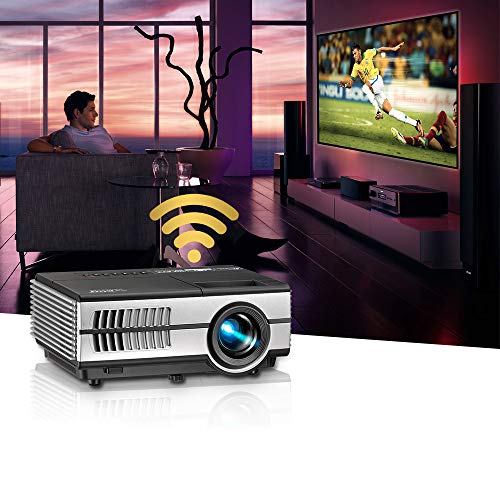 Mini proyector LED portátil Wifi con Bluetooth 1080P compatible móvil inteligente Android LCD HD Wireless Home Movie Projector Airplay HDMI USB VGA AV Audio para Smartphone Tablet PC Roku Fire Stick