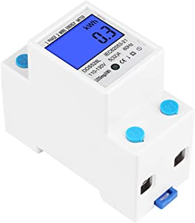 デジタル 電力計 電圧メーター LCDエネルギーメーター Keenso 5-32A 110-130V 60Hzデジタルバックライトスクリーンワットメーター 単相DINレール取り付け KWhメーターDDS528L