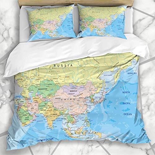 NOLYXICI Ropa de Cama - Funda nórdica Azul India Asia Continente Altamente detallado Mapa político Rusia Atlas Emiratos Árabes Unidos Microfibra Nuevo Set de Tres Piezas Funda de edredón 140 * 200