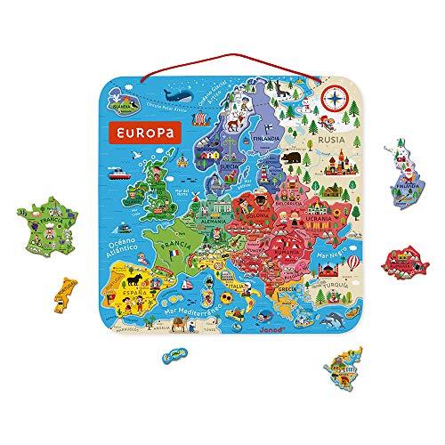 Janod- Puzle Mapa de Europa magnético de madera-40Piezas imantadas-45x 45cm-Versión en español-Juego Educativo a Partir de 7años (JURATOYS J05474)