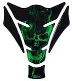 Tankpad 3D - 500157 - Ghost Green Totenkopf-Motiv/Flammen Grün - universell für Yamaha, Honda, Ducati, Suzuki, Kawasaki, KTM, BMW, Triumph und Aprilia Tanks