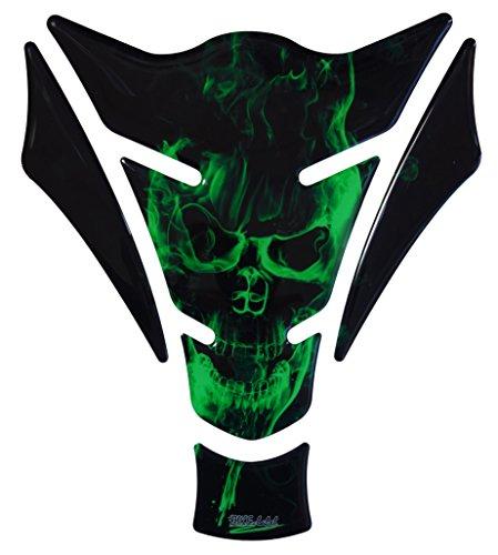 Protector de depósito 3D – 500157 – Ghost Green – Calavera verde/llamas – Universal para depósitos Yamaha, Honda, Ducati, Suzuki, Kawasaki, KTM, BMW, Triumph y Aprilia