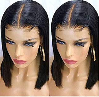 13x6 Deep Part Short Bob Lace Front Wigs Human Hair Pre Plucked Full End 150% Density Brazilian Straight Bob Wigs Bleached Knots(10inch)