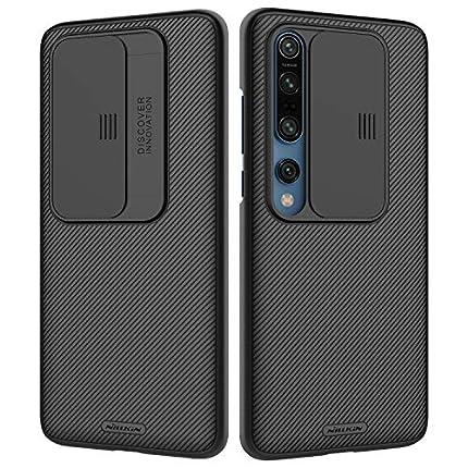 NILLKIN Funda Xiaomi Mi 10/10 Pro, [Protección de la cámara] Estuche híbrido Parachoques Premium no voluminoso Delgado Funda rígida para PC para Xiaomi Mi 10/10 Pro-Negro