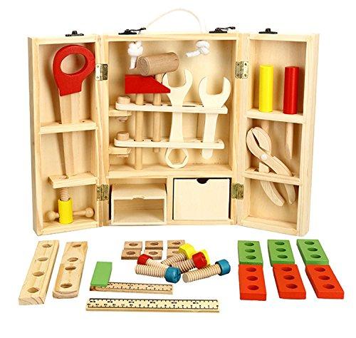 Lewo Houten Gereedschapskist en Accessoireset Doe Alsof Speelset Educatief Constructiespeelgoed voor Kinderen