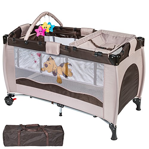 WeFun Luxury Travel Cot With Newborn Bassinet and Changing Station (brown)