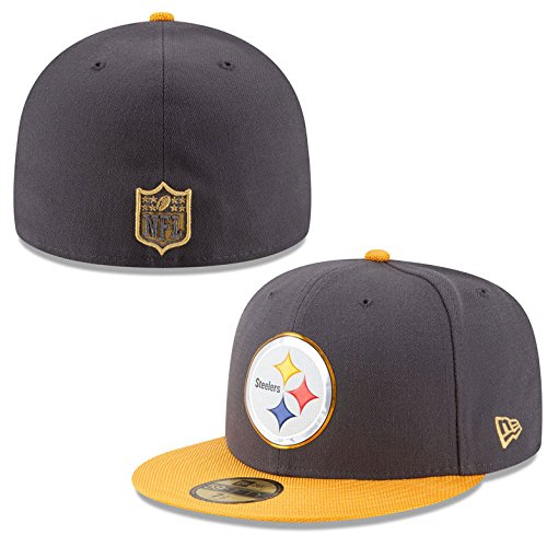 new style 9dad2 ac7d1 New Era NFL Hat Pittsburgh Steelers on Field Gold Collection Football Black  with Gold Cap (