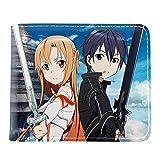 Cartera PU Anime Japonés Cartera Sword Art Online Anime Monedero Corto para Jóvenes con Tarjetero Monedero