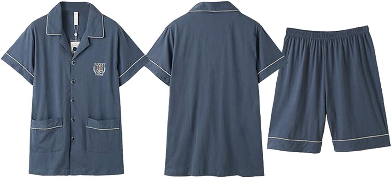 ft FENTENG Men's Pajamas Cotton Short-Sleeved Sleepwear Set Thin And Shorts Cardigan for Home Sleepshirt Suit