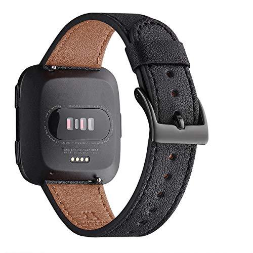 WFEAGL für Versa Armband,Top Grain Lederband Ersatzband mit Edelstahl-Verschluss für Versa/Versa 2 /Versa Lite/Versa SE Fitness Smart Watch(Schwarz+Schwarz Schnalle)