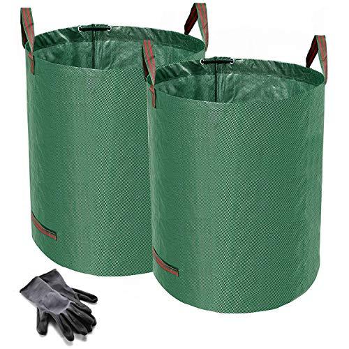 Norjews 2er Set Gartensack, 500L Gartenabfallsack aus robustem Wasserdichtes Polypropylen-Gewebe (PP) - Selbststehend und Faltbar Laubsäcke, inkl. Geschenk 1 Paar