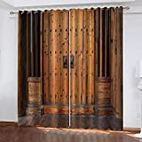 LWXBJX Opacas Cortinas Dormitorio - Puerta de Madera Retro Creativa - Impresión 3D Aislantes de Frío y Calor 90% Opacas Cortinas - 150 x 166 cm - Salon Cocina Habitacion Niño Moderna Decorativa