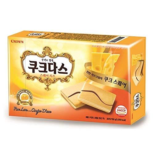Crown Couque D'asse Square Cheese | 192g | Korean Snack, Rich Cheese Flavor, Korean Langue de Chat Cookies with Filling, 쿠크다스 스퀘어 치즈