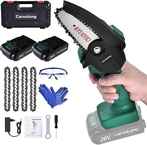Depmog Cordless Electric Chainsaw 2 Battery,Mini Chainsaw Portable Chain Saw 4-Inch 26V,One-Handed Portable Mini Chainsaw for Tree Branch Wood Cutting and Garden(4 Chain, 1 Glasses, 1 Pair of Gloves)