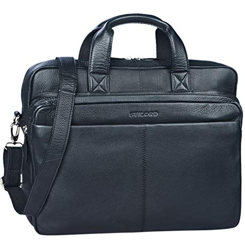 STILORD 'Verus' Vintage Ledertasche groß Aktentasche Laptoptasche Umhängetasche mit Reißverschluss und abnehmbaren Schultergurt Lehrertasche Leder, Farbe:schwarz