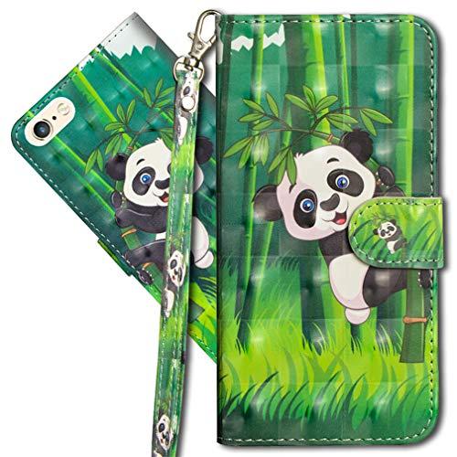 MRSTER Funda para iPhone 6, 3D Brillos Carcasa Libro Flip Case Antigolpes Cartera PU Cuero Funda con Soporte para Apple iPhone 6 / iPhone 6S 4.7. YX 3D Panda Bamboo