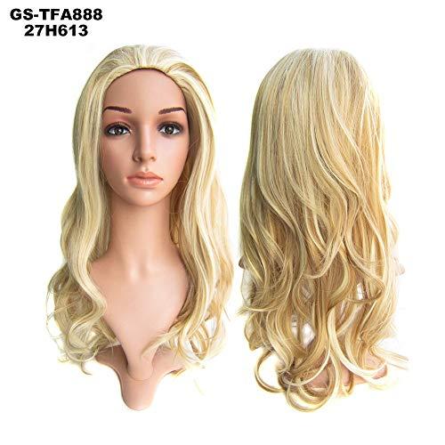 FAKUAI 3/4 Halve Hoofd Pruik Haar Stuk 55 cm Hittebestendige Synthetische Lange Krullend Dikke Hair Extensions voor Dagelijkse Party Voor Vrouwen