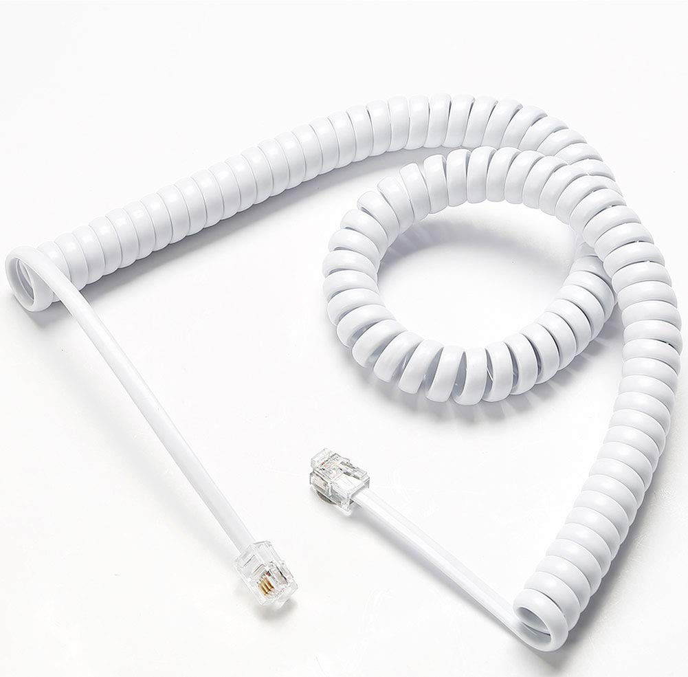 Telephone Cord, Phone Cord,Handset Cord, White, 2 Pack, Universally Compatible