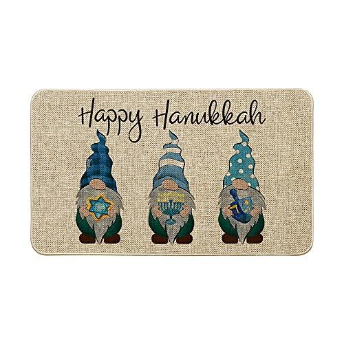 Artoid Mode Gnomes Happy Hanukkah Decorative Doormat Blue, Seasonal Winter Judaica Holiday Low-Profile Floor Mat Switch Mat for Indoor Outdoor 17 x 29 Inch