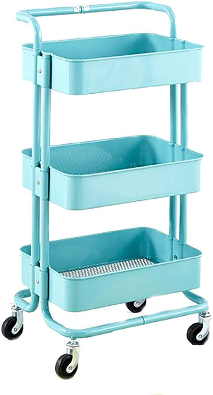 Storage Rack Three-Layer Removable Trolley Kitchen Storage Rack with Wheel Lasker Storage Rack (color   B)