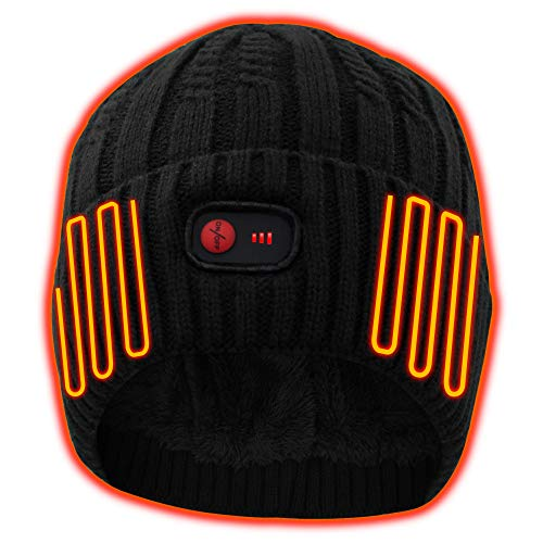 Winter Warm Beanie Hat Rechargeable Battery Heated Hat for Men Women Cold Weather Hat Knit Ski Snow Skull Cap Thick Fleece Lined Hat Outdoor Sports Windproof Head Warmer Stylish Soft Black