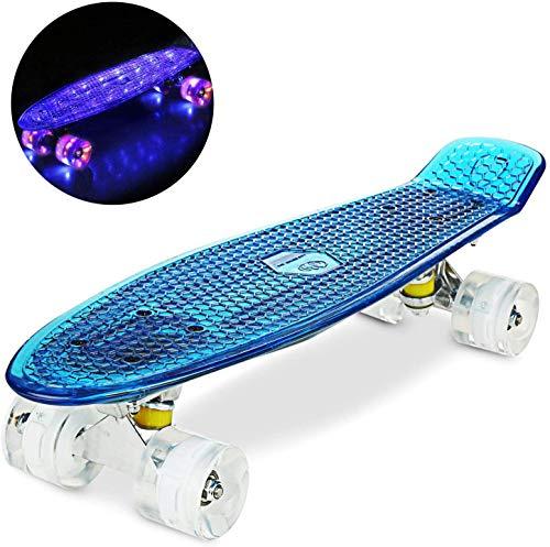 """WeSkate Cruiser Skateboard Komplettboard Mini Skateboard 22\"""" 55 cm Penny Board mit PU LED Rollen, ABEC-7 Kugellager Geschenk für Erwachsene Jugendliche Kinder Mädchen, Blu+Bianco"""